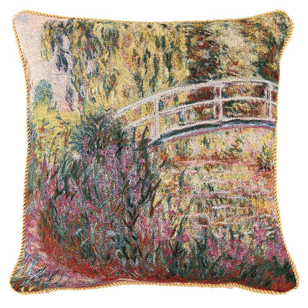Claude Monet Japanese Bridge Cushion Cover | Tapestry Art Pillow 18x18 inch | CCOV-ART-MONET-3