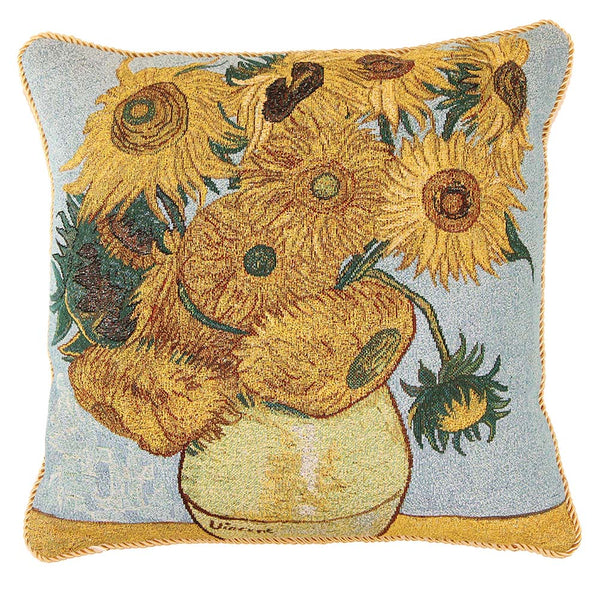 Van Gogh Sun Flower Cushion Cover | Tapestry Art Pillow 18x18 inch | CCOV-ART-VANGOGH-3