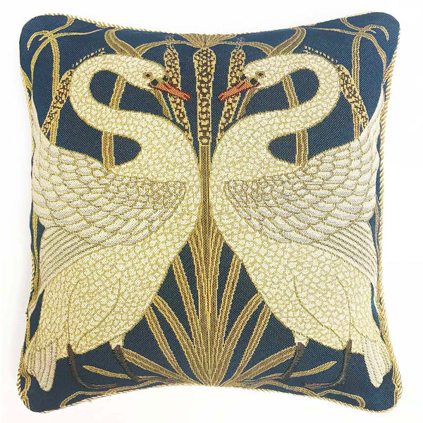 Walter Crane Swan Cushion Cover | Decorative Art Tapestry Pillow 18x18 inch | CCOV-ART-SWAN