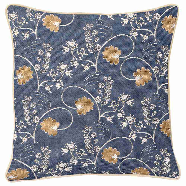 Jane Austen Blue Cushion Cover | Oak Flower Decorative Pillow Case 18x18 inch | CCOV-AUST