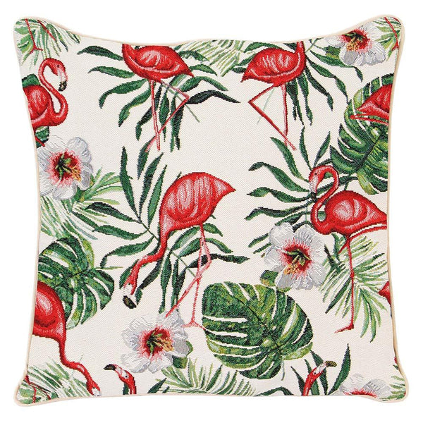 Flamingo Cushion Cover | Decorative Unique Fabric Tapestry Pillow 18x18 inch | CCOV-FLAM