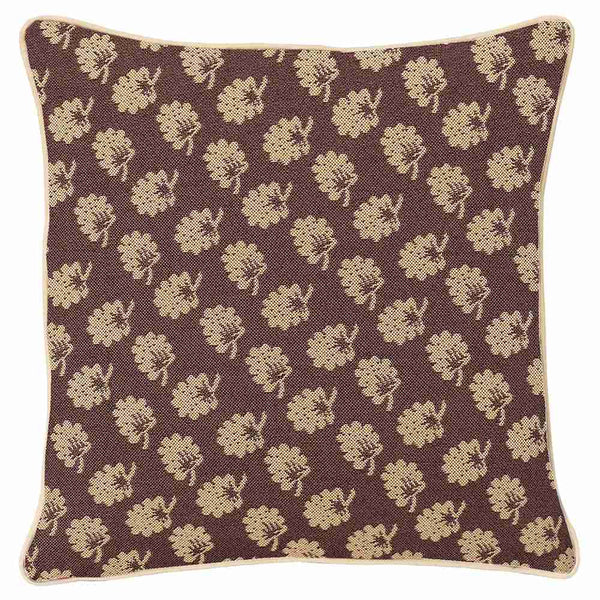 Brown Jane Austen Cushion Cover | Oak Floral Decorative Pillow Case 18x18 inch | CCOV-JANE
