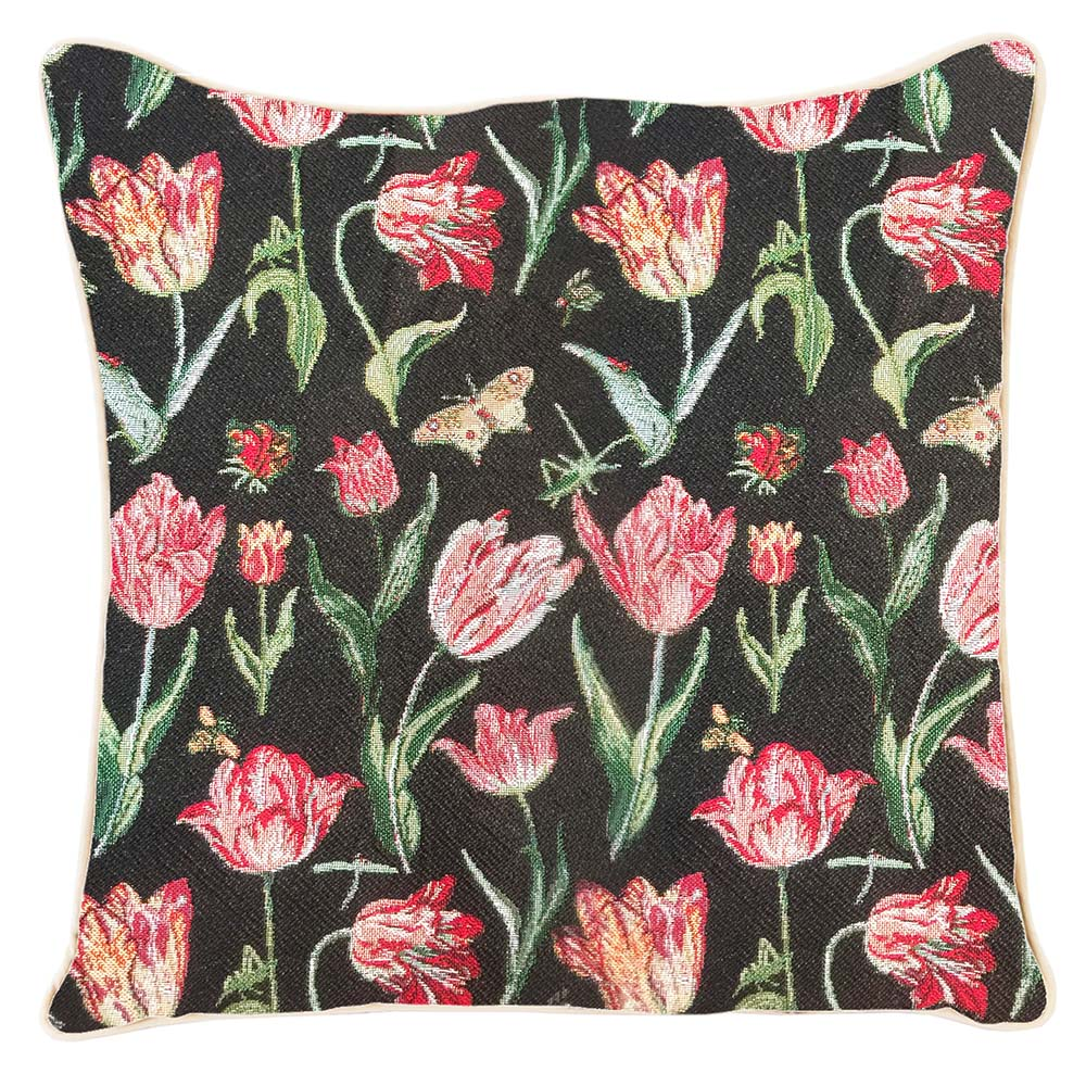Marrel's Tulip Black Tapestry Cushion Cover | 18x18 Cushion Covers | CCOV-JMTBK