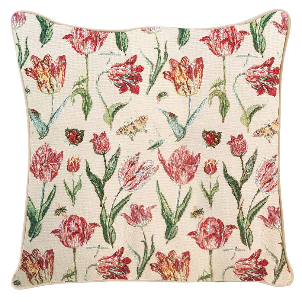Marrel's Tulip White Tapestry Cushion Cover | 18x18 Cushion Covers | CCOV-JMTWT
