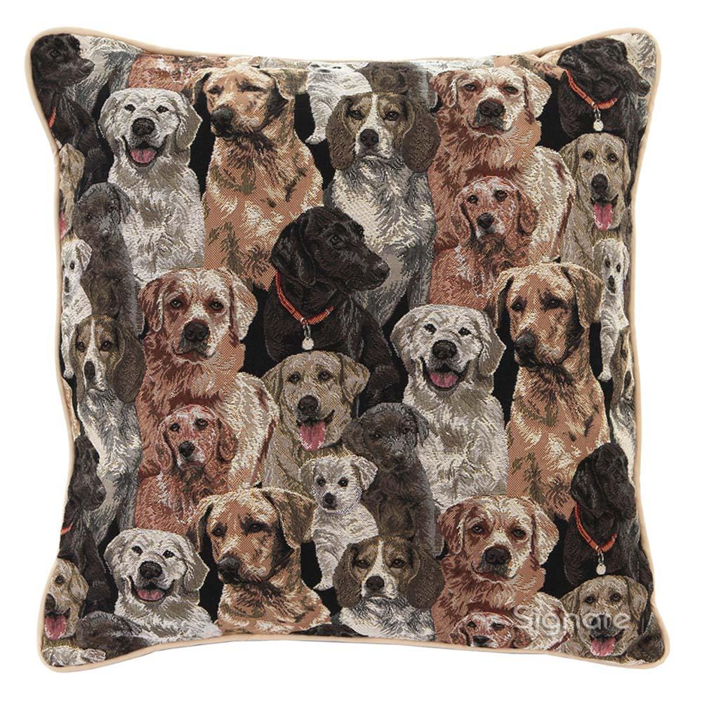 Labrador Tapestry Cushion Cover | 18x18 Brown Cushion Cover | CCOV-LAB