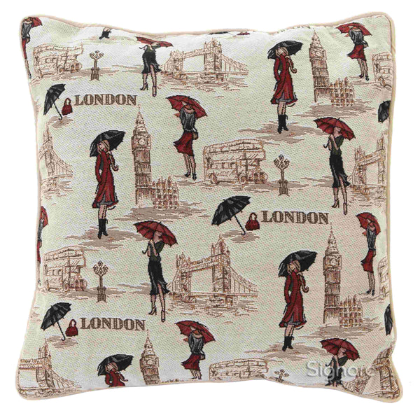 Miss London Cushion Cover | Stylish Unusual Decorative Pillow 18x18 inch | CCOV-MSLN
