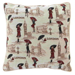 Miss London Tapestry Cushion Cover | 18x18 Cushion Covers | CCOV-MSLN
