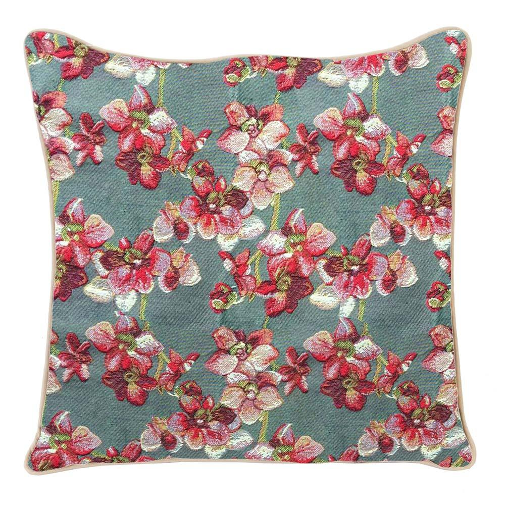 Orchid Cushion Cover | Decorative Branded Unique Tapestry Floral Pillow 18x18 inch | CCOV-ORC