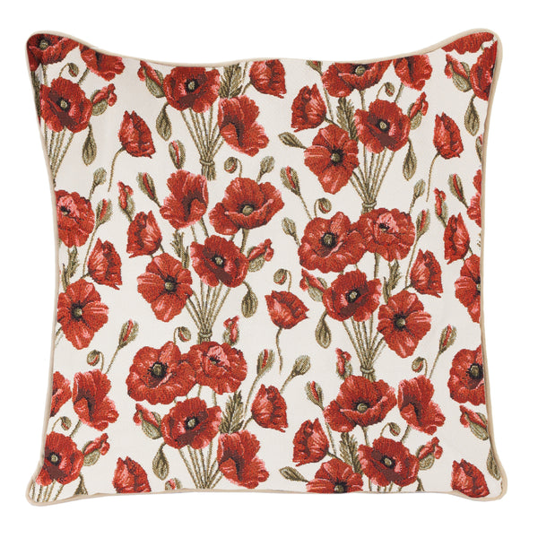 Poppy Cushion Cover | Stylish Decorative Tapestry Pillow 18x18 inch | CCOV-POP