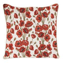Poppy Cushion Cover | Floral Decorative Tapestry Pillow 18x18 inch | CCOV-POP