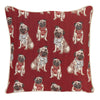Pug Tapestry Cushion Cover | Red 18x18 Cushion Cover | CCOV-PUG