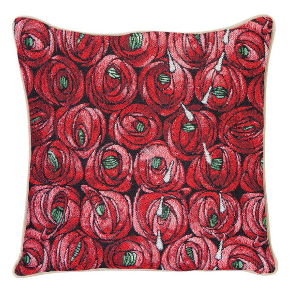 Mackintosh Rose and Teardrop Cushion Cover | Red 18x18 Cushion Covers | CCOV-RMTD