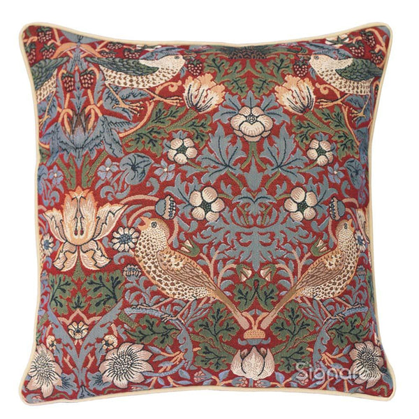 William Morris Strawberry Thief Red Cushion Cover | Floral Art Pillow 18x18 inch | CCOV-STRD
