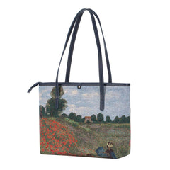 Monet - Poppy Field Shoulder Tote Bag | Art College Bag | COLL-ART-CM-POPFL