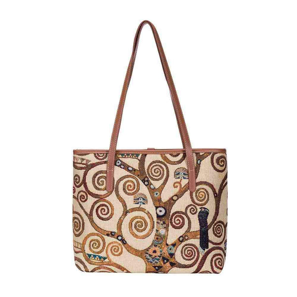 Gustav Klimt Tree of Life Shoulder Tote Bag | Tapestry College Bag | COLL-ART-GK-TREE