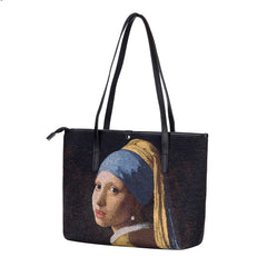Vermeer Girl with a Pearl Earring Shoulder Tote Bag | Art College Shoulder Bag | COLL-ART-JV-GIRL