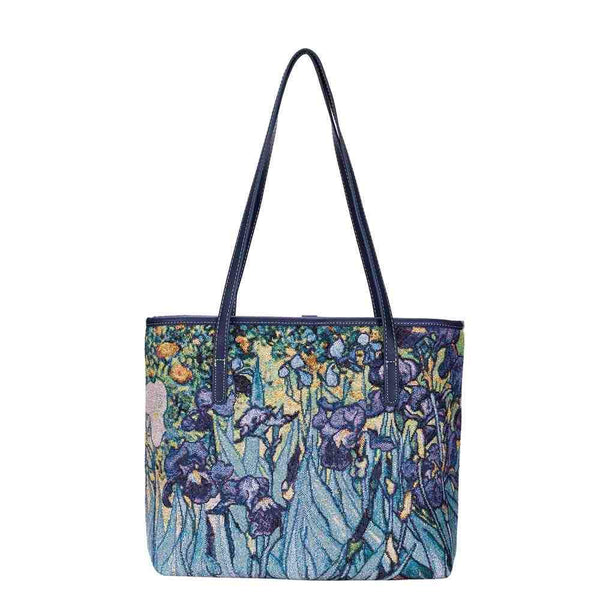 Vincent Van Gogh Iris Artwork Shoulder Tote Bag | Tapestry Art College Bag | COLL-ART-VG-IRIS
