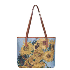 Van Gogh Artwork Sunflowers Shoulder Tote Bag | Tapestry Art Shoulder Bag | COLL-ART-VG-SUNF