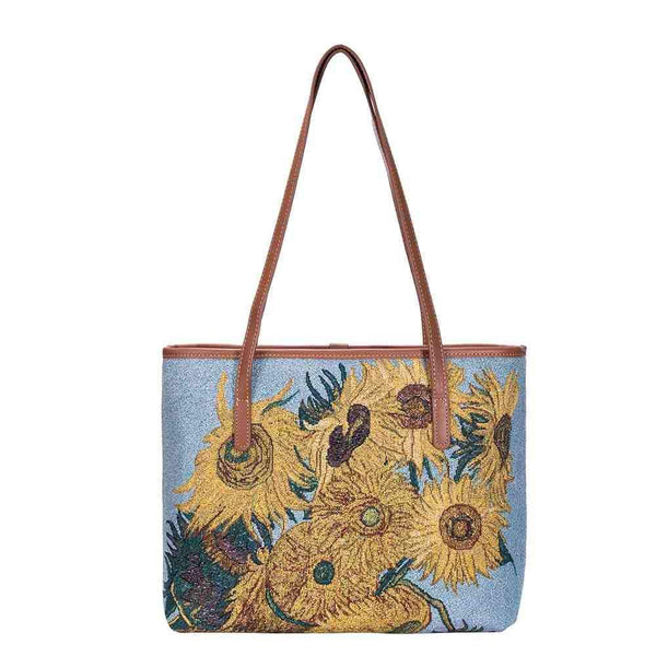 Van Gogh Sunflowers Shoulder Tote Bag | Tapestry Art Shoulder Bag | COLL-ART-VG-SUNF