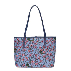 Almond Blossom and Swallow Shoulder Tote Bag | Floral Tapestry College Handbag | COLL-BLOS