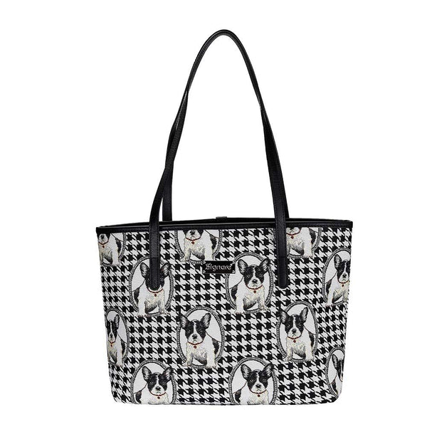 French Bulldog Shoulder Tote Bag | Black Tapestry Shoulder Bag | COLL-FREN