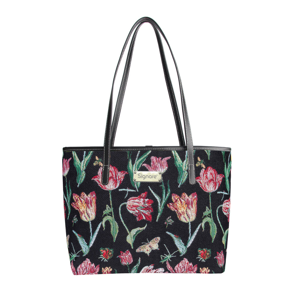 Marrel's Tulip Black Shoulder Tote Bag | Floral Tapestry College Bag | COLL-JMTBK