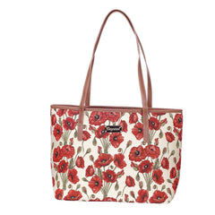 Poppy Shoulder Tote Bag | Floral Tapestry College Bag | COLL-POP