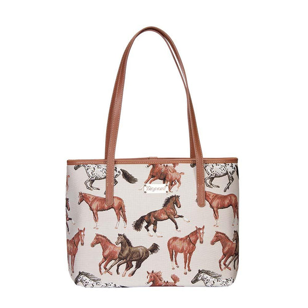 Running Horse Shoulder Tote Bag | Women's Fashion Side Shopping College Book Tote | COLL-RHOR