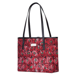 Mackintosh Rose and Teardrop Shoulder Tote bag | Red Tapestry Shoulder Bag | COLL-RMTD