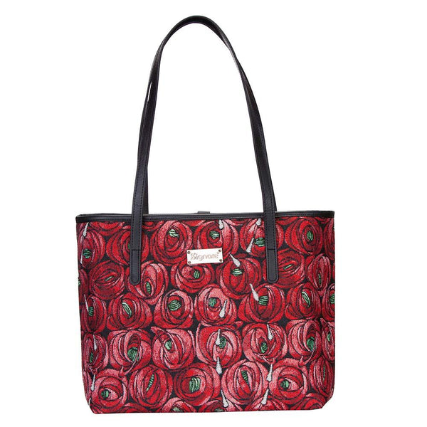 Mackintosh Rose and Teardrop Shoulder Tote bag | Red Shoulder Bag | COLL-RMTD