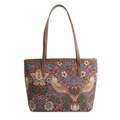 William Morris Strawberry Thief Red Shoulder Tote Bag | Art College Bag | COLL-STRD