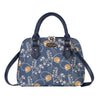 Jane Austen Blue Top-handle Shoulder Bag | Blue Tapestry Shoulder Bag | CONV-AUST