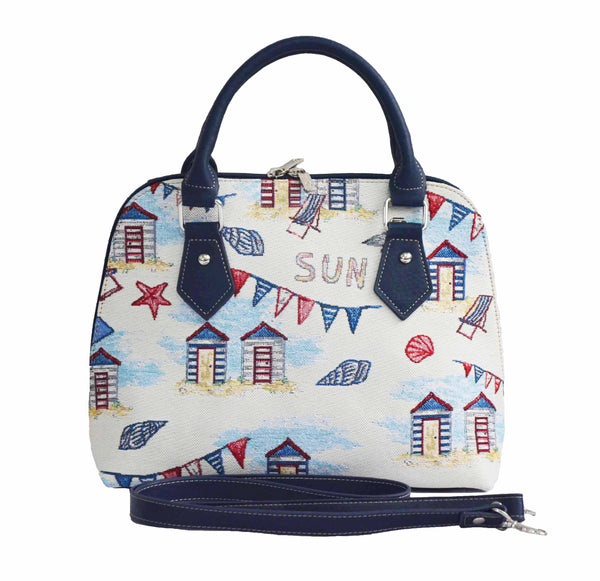 Beach Hut Top-Handle Shoulder Bag | Ladies Branded Stylish Stripped Handbag | CONV-BHUT