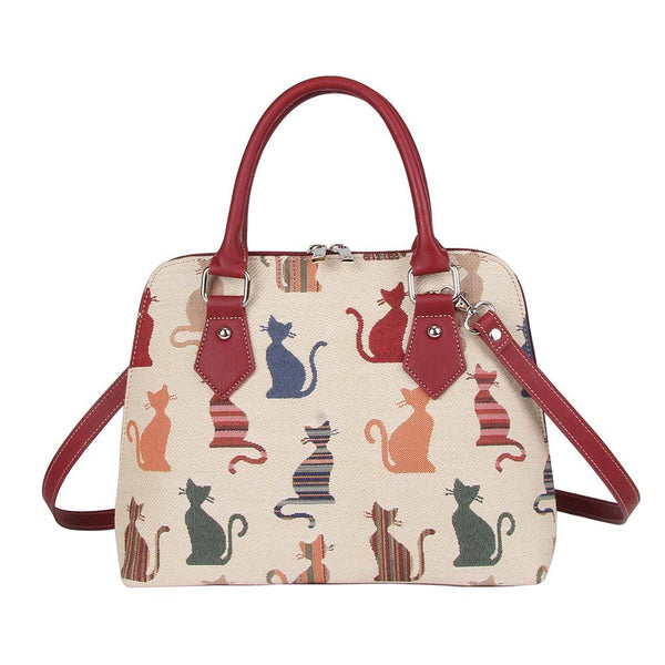 Cheeky Cat Top-Handle Shoulder Bag | Tapestry Ladies Shoulder Bag | CONV-CHEKY