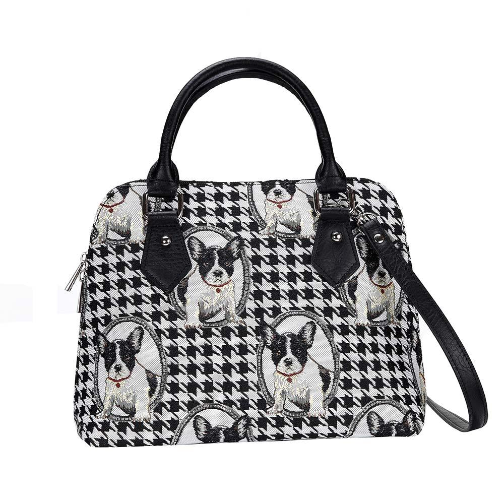 French Bulldog Top-Handle Shoulder Bag | Tapestry Womens Shoulder Bag | CONV-FREN