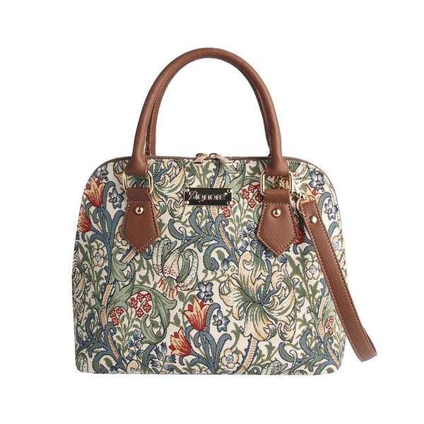 William Morris Golden Lily Top-Handle Shoulder Bag | Floral Art Tapestry Handbag | CONV-GLILY