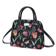 Marrel's Tulip Black Top-Handle Shoulder Bag | Bag With Shoulder Strap With Tulips | CONV-JMTBK