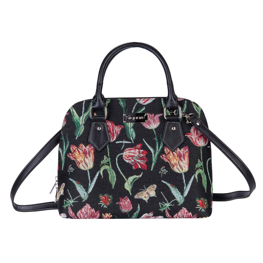 Marrel's Tulip Black Top-Handle Shoulder Bag | Black Cross Shoulder Bag | CONV-JMTBK