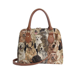 Labrador Top-Handle Shoulder Bag | Brown Tapestry Ladies Shoulder Bag | CONV-LAB