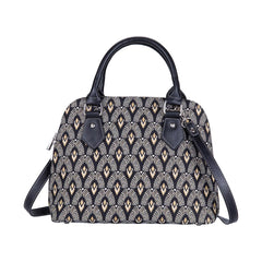 Luxor Top-Handle Shoulder Bag | Black Art Deco Shoulder Bag | CONV-LUXOR