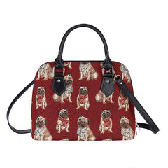 Pug Top-Handle Shoulder Bag | Cute Dog Tapestry Shoulder Handbag | CONV-PUG
