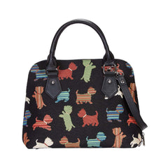 Playful Puppy Top-Handle Shoulder Bag | Black Ladies Shoulder Bag | CONV-PUPPY