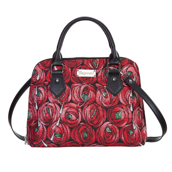 Mackintosh Rose and Teardrop Top-Handle Shoulder Bag | Red Floral Tapestry Handbag | CONV-RMTD