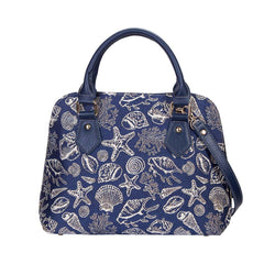 Sea Shell Top-Handle Shoulder Bag | Blue Tapestry Ladies Shoulder Bag | CONV-SHELL