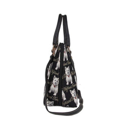 Westie Top-Handle Shoulder Bag | Black Tapestry Ladies Shoulder Bag | CONV-WES