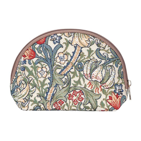 William Morris Golden Lily Cosmetic Bag | Floral Tapestry Art Makeup Case | COSM-GLILY