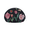 Marrel's Tulip Black Cosmetic Bag | Floral Tapestry Womens Makeup Case | COSM-JMTBK