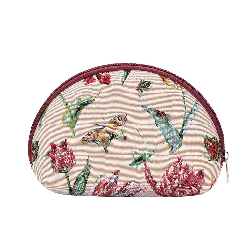 Marrel's Tulip White Cosmetic Bag | Floral Tapestry Art Makeup Case | COSM-JMTWT