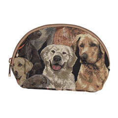 Labrador Cosmetic Bag | Brown Womens Tapestry Makeup Case | COSM-LAB