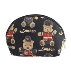 London Bear Cosmetic Bag | Stylish Tapestry Makeup Case | COSM-LNBE